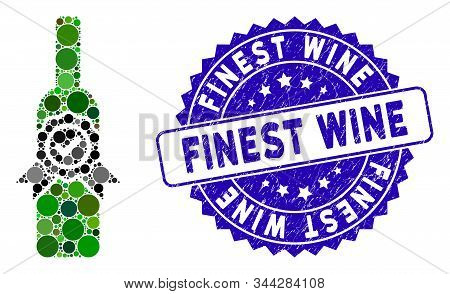 Mosaic Finest Wine Icon And Corroded Stamp Seal With Finest Wine Text. Mosaic Vector Is Created With