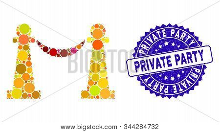 Collage Private Party Stanchions Icon And Rubber Stamp Seal With Private Party Caption. Mosaic Vecto