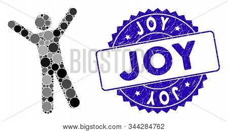 Mosaic Man Joy Icon And Distressed Stamp Watermark With Joy Text. Mosaic Vector Is Composed With Man