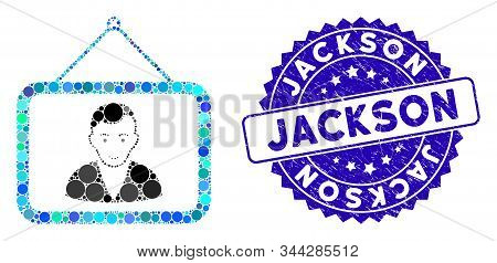 Mosaic Man Portrait Icon And Corroded Stamp Watermark With Jackson Caption. Mosaic Vector Is Compose