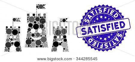 Mosaic Happy Bulwark Icon And Rubber Stamp Watermark With Satisfied Caption. Mosaic Vector Is Create