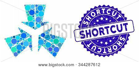 Mosaic Merge Directions Icon And Rubber Stamp Watermark With Shortcut Text. Mosaic Vector Is Designe