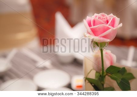 Pink Rose Decoration On Banquet Table Settings. Hotel Restaurant Venue, Food Catering Service Buffet