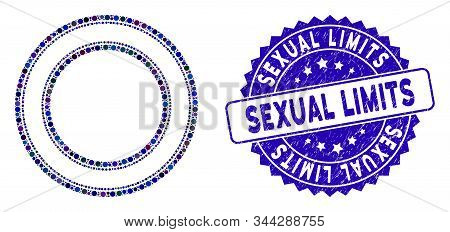 Collage Double Circle Frame Icon And Grunge Stamp Seal With Sexual Limits Phrase. Mosaic Vector Is D
