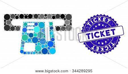 Collage Ticket Terminal Icon And Rubber Stamp Seal With Ticket Text. Mosaic Vector Is Formed With Ti