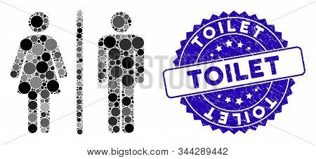 Mosaic Toilet Icon And Distressed Stamp Seal With Toilet Phrase. Mosaic Vector Is Formed With Toilet