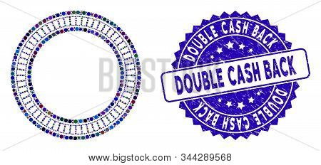 Mosaic Double Circle Frame Icon And Distressed Stamp Seal With Double Cash Back Text. Mosaic Vector