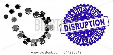 Mosaic Gear Disruption Icon And Corroded Stamp Watermark With Disruption Phrase. Mosaic Vector Is Cr