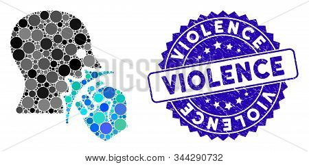 Mosaic Face Violence Strike Icon And Distressed Stamp Seal With Violence Text. Mosaic Vector Is Desi