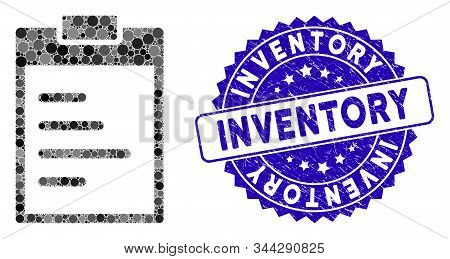 Mosaic Inventory Pad Icon And Grunge Stamp Seal With Inventory Caption. Mosaic Vector Is Formed With