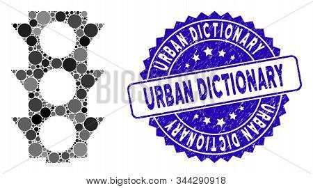 Mosaic Traffic Lights Icon And Rubber Stamp Seal With Urban Dictionary Text. Mosaic Vector Is Create