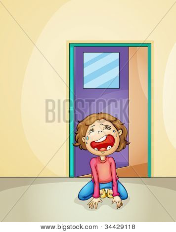 illustration of a boy crying alone at home