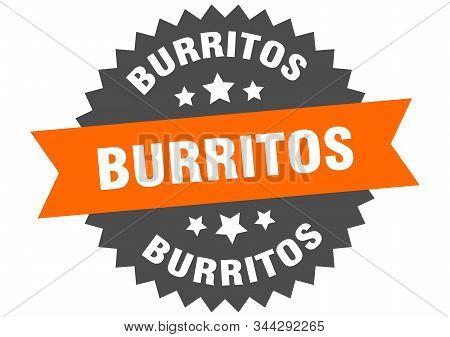 Burritos Sign. Burritos Orange-black Circular Band Label