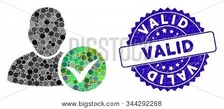Mosaic Valid User Icon And Grunge Stamp Seal With Valid Caption. Mosaic Vector Is Composed With Vali