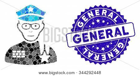 Mosaic Army General Icon And Rubber Stamp Seal With General Caption. Mosaic Vector Is Designed With