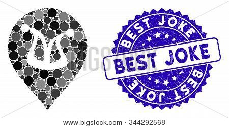 Mosaic Joker Marker Icon And Corroded Stamp Seal With Best Joke Text. Mosaic Vector Is Composed With