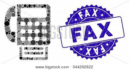 Mosaic Fax Machine Icon And Distressed Stamp Seal With Fax Phrase. Mosaic Vector Is Created With Fax
