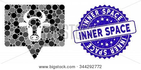 Mosaic Cow Banner Icon And Grunge Stamp Seal With Inner Space Text. Mosaic Vector Is Composed From C