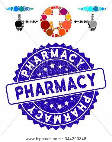 Mosaic Quadcopter Pharmacy Icon And Rubber Stamp Seal With Pharmacy Caption. Mosaic Vector Is Formed
