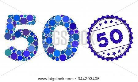 Mosaic 50 Digits Text Icon And Rubber Stamp Seal With 50 Text. Mosaic Vector Is Designed With 50 Dig