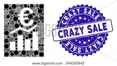 Mosaic Euro Sale Report Icon And Corroded Stamp Watermark With Crazy Sale Text. Mosaic Vector Is For