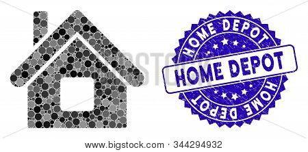 Collage Home Icon And Rubber Stamp Seal With Home Depot Text. Mosaic Vector Is Formed With Home Icon