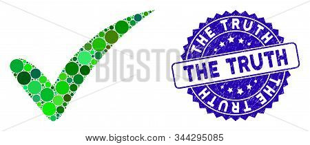 Mosaic The Truth Icon And Distressed Stamp Seal With The Truth Caption. Mosaic Vector Is Created Wit
