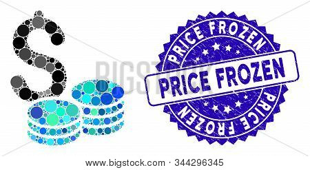 Mosaic Dollar Cash Icon And Distressed Stamp Watermark With Price Frozen Phrase. Mosaic Vector Is Co