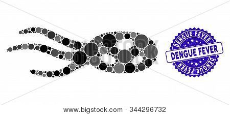 Mosaic Intrude Microorganism Icon And Grunge Stamp Seal With Dengue Fever Phrase. Mosaic Vector Is C