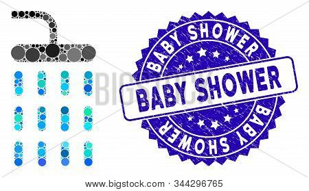 Mosaic Shower Icon And Rubber Stamp Seal With Baby Shower Text. Mosaic Vector Is Composed With Showe