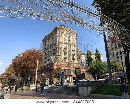 Kiev, Ukraine - October 02, 2019: Houses In The Style Of Stalin Empire On The Main Street Of Kiev Kh