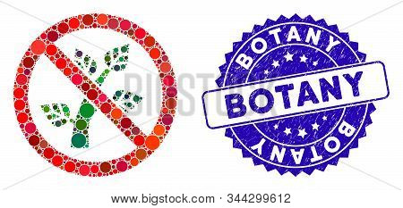 Mosaic No Botany Icon And Rubber Stamp Seal With Botany Caption. Mosaic Vector Is Composed With No B