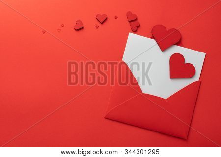 Love Letter Symbol Background. Valentines Day Background. Love Hearts, Flat Lay, Top View, Copy Spac