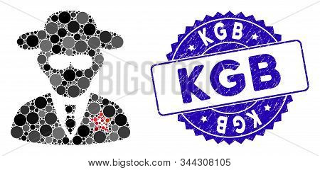 Collage Kgb Spy Icon And Rubber Stamp Seal With Kgb Caption. Mosaic Vector Is Designed With Kgb Spy