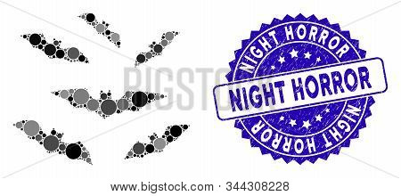 Collage Halloween Bats Icon And Corroded Stamp Seal With Night Horror Caption. Mosaic Vector Is Crea