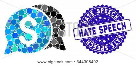 Mosaic Money Messages Icon And Grunge Stamp Seal With Hate Speech Text. Mosaic Vector Is Created Wit