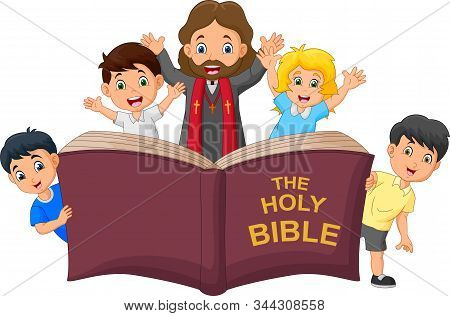 Cartoon Jesus Christ With Children Reading Holy Bible
