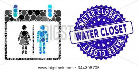 Mosaic Water Closet Calendar Day Icon And Rubber Stamp Seal With Water Closet Caption. Mosaic Vector