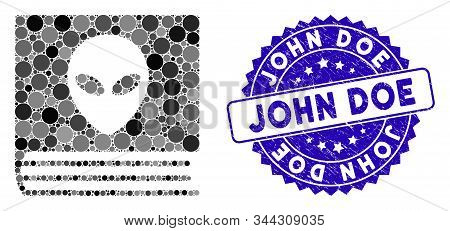 Mosaic Alien Catalog Icon And Rubber Stamp Seal With John Doe Phrase. Mosaic Vector Is Created With