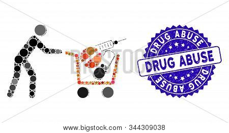 Collage Medical Shopping Icon And Grunge Stamp Seal With Drug Abuse Phrase. Mosaic Vector Is Formed