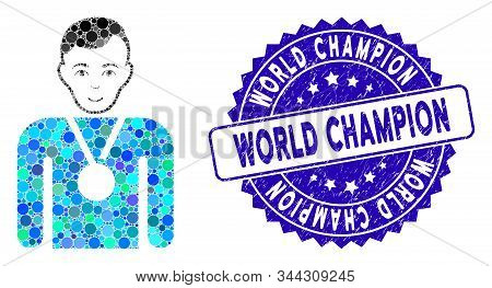 Mosaic Champion Icon And Corroded Stamp Watermark With World Champion Phrase. Mosaic Vector Is Desig