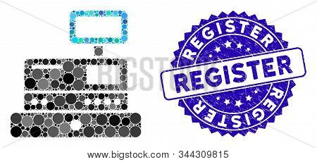Mosaic Cash Register Icon And Corroded Stamp Seal With Register Caption. Mosaic Vector Is Created Wi
