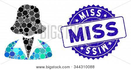 Mosaic Office Lady Icon And Grunge Stamp Seal With Miss Caption. Mosaic Vector Is Composed With Offi