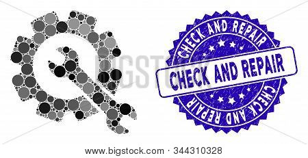 Mosaic Repair Icon And Corroded Stamp Seal With Check And Repair Text. Mosaic Vector Is Formed With