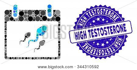 Collage Sperm Calendar Day Icon And Distressed Stamp Seal With High Testosterone Caption. Mosaic Vec
