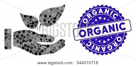 Mosaic Organic Supplement Hand Icon And Corroded Stamp Seal With Organic Phrase. Mosaic Vector Is De