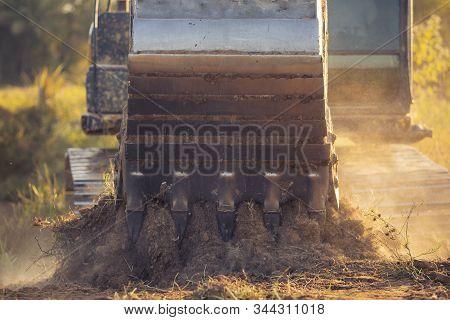 Excavator Is Working During Sunset, Construction Site Digger,loader Backhoe