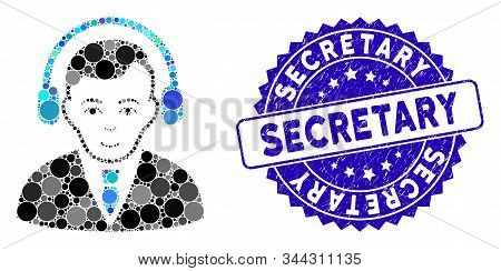 Mosaic Radio Manager Icon And Corroded Stamp Seal With Secretary Phrase. Mosaic Vector Is Designed W