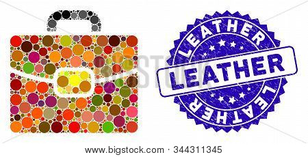 Mosaic Leather Case Icon And Grunge Stamp Seal With Leather Caption. Mosaic Vector Is Formed With Le