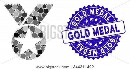 Mosaic Medal Icon And Rubber Stamp Seal With Gold Medal Caption. Mosaic Vector Is Composed With Meda